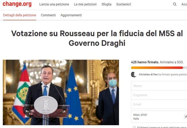 I 5 Stelle vogliono votare di nuovo su Rousseau, sul governo Draghi