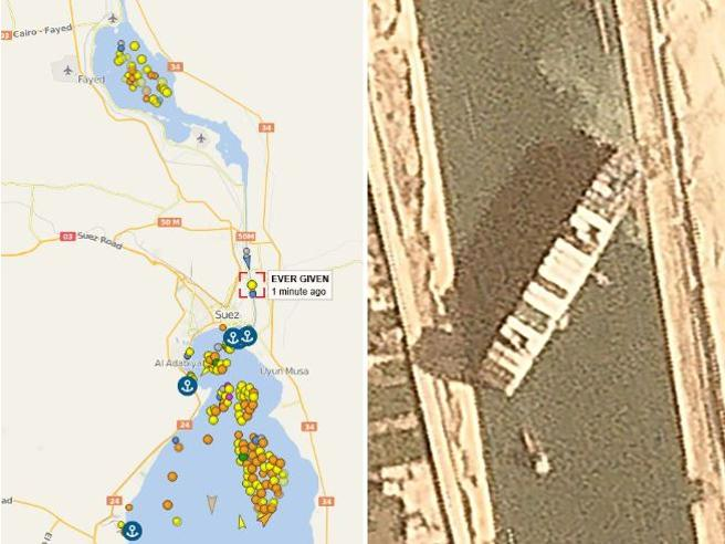 Canale di Suez bloccato da una grande nave portacontainer: il video