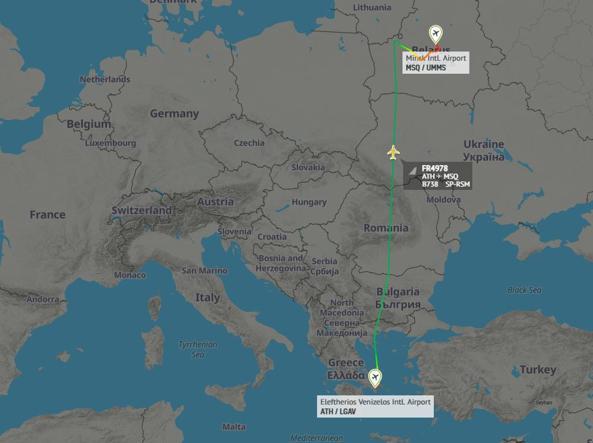 Ryanair costretta atterrare a Minsk e oppositore viene arrestato
