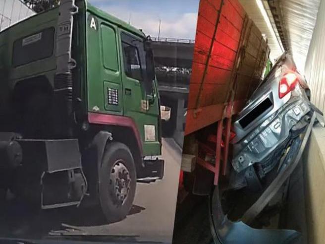 L'incubo di ogni automobilista: il camion sterza all'improvviso