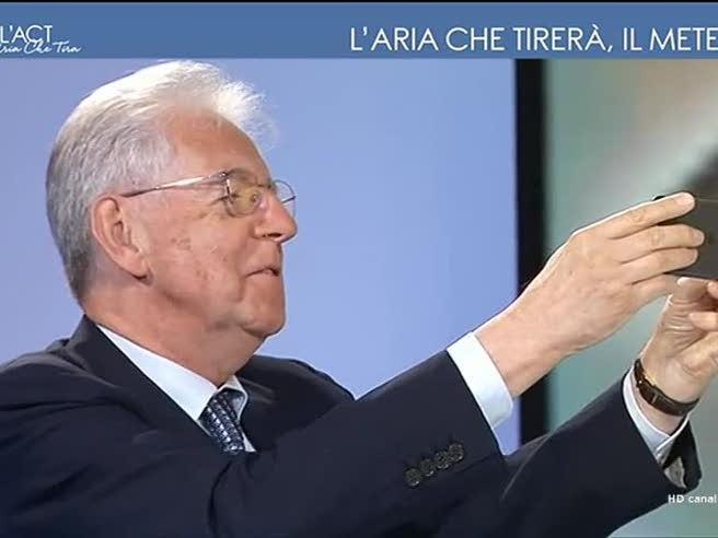 Mario Monti come non l'avete mai visto: dice al meteorologo «Si levi di lì, sto scattando una foto»