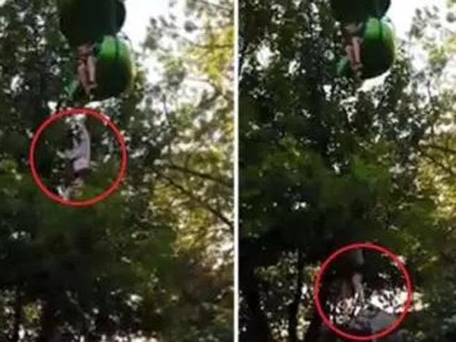 Cade dall'attrazione del parco divertimenti: presa al volo