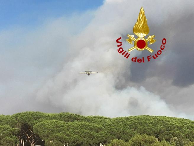 La  sindaca Raggi sul luogo degli incendi: «È disastro ambientale» Diretta