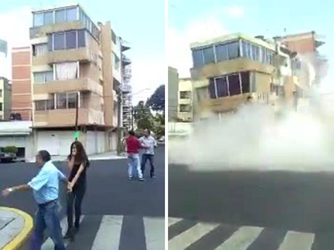 La scossa sbriciola un palazzo: scena ripresa in diretta VideoCittà del Messico  sembra una  città bombardata: dall'alto