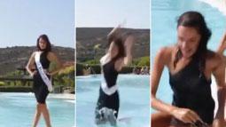 La Miss inciampa e cade in piscina mentre sfila
