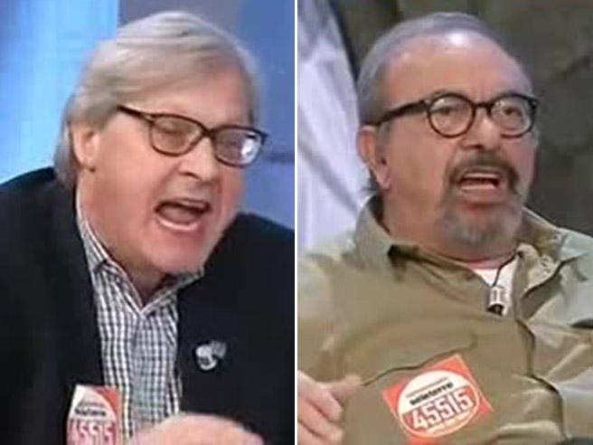 Sgarbi, lite in diretta tv con Vauro: «Sei una testa di c... Berlusconi non è mafioso»