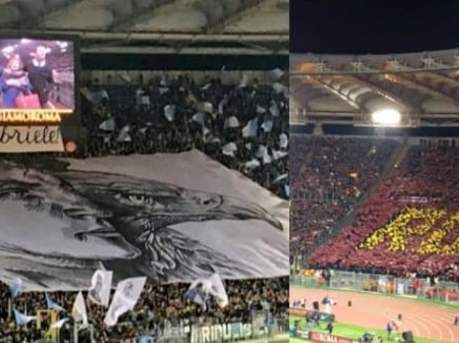 Omaggio a Gabriele Sandri al derby Roma-Lazio