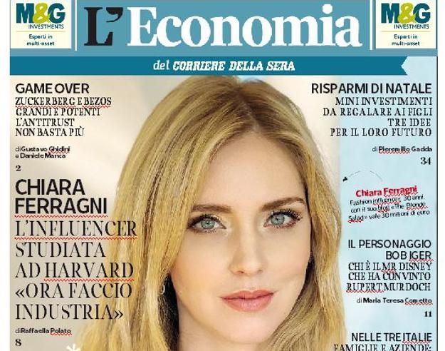 Chiara Ferragni tra web e industria:ora diventa manager. E Harvard approvaLunedì L'Economia gratis in edicola