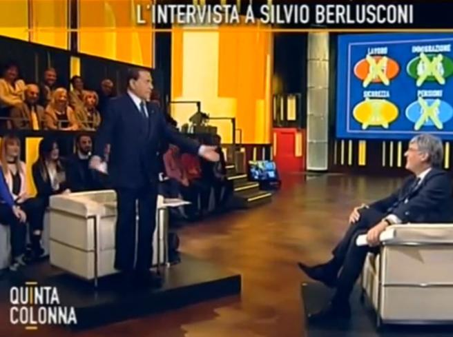 """Berlusconi: """"Con Confalonieri feci gara di pipì e   vinse lui"""" """"Salvini ministro dell'Interno"""""""