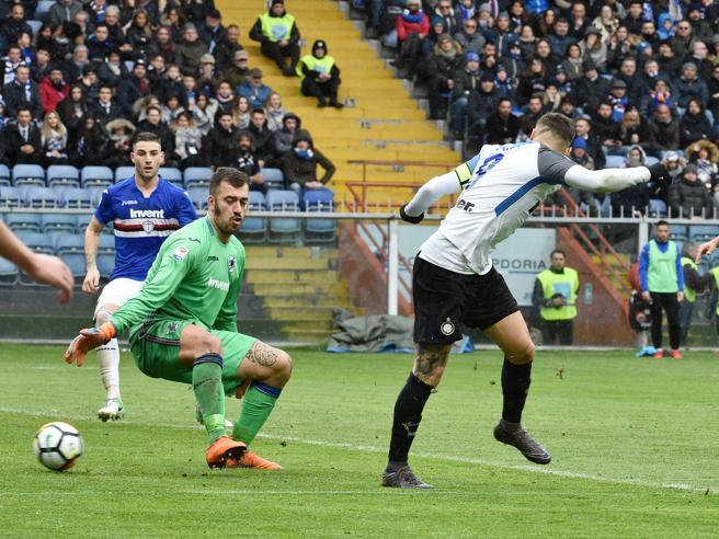 Sampdoria-Inter, il colpo di genio di Icardi: spalle alla porta segna di tacco