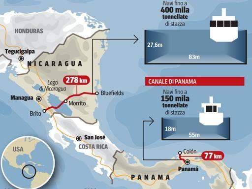 La sfida cinese a Panama: in Nicaragua un canale di 278 km