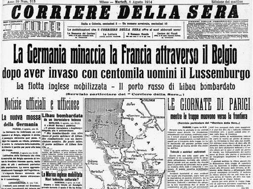 Agosto 1914 scoppia la grande guerra for Corriere della sera arredamento