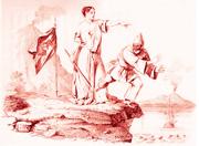 Una stampa allegorica che rappresenta la cacciata dei napoletani dalla Sicilia all'inizio della rivolta del 1848
