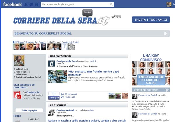 Il social reader di Corriere.it