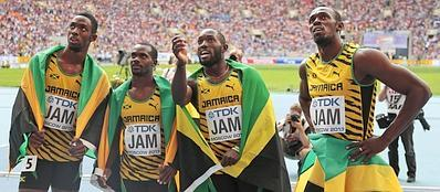 La staffetta giamaicana: da destra  Bolt, Ashmeade, Carter,  Bailey-Cole (Ap)