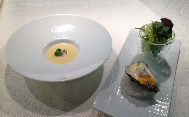 Zuppetta, insalata e tartare di ostriche