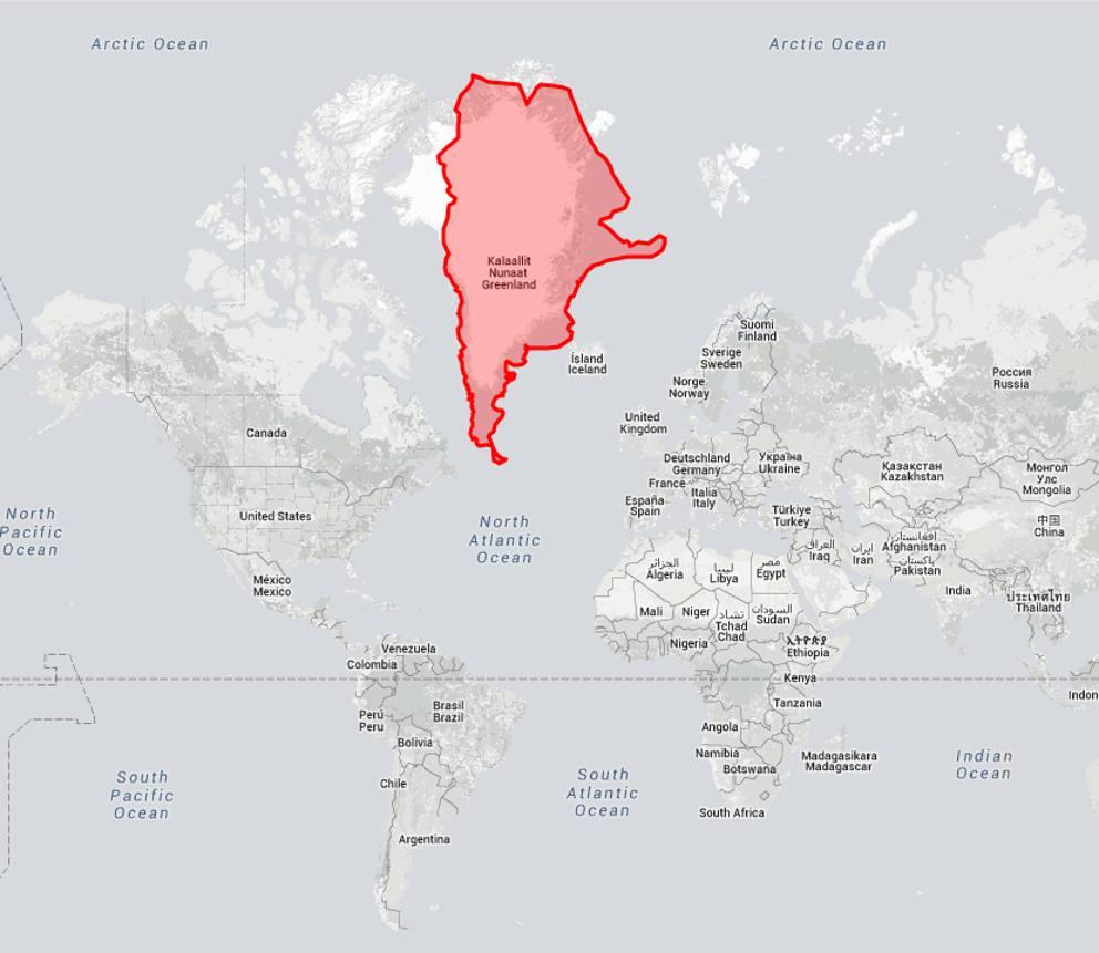 Cartina Geografica Della Groenlandia.Il Mondo A Grandezza Reale L Argentina E Piu Vasta Della Groenlandia Corriere It