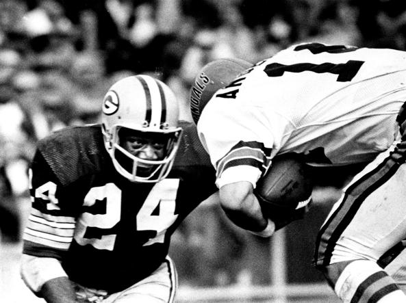 Willie Wood dei Green Bay Packers in un'immagine del 1971 (Ap)
