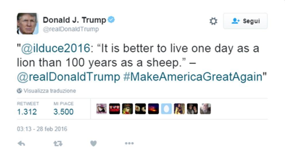 Trump E Quel Tweet Con La Citazione Di Mussolini Corriere It