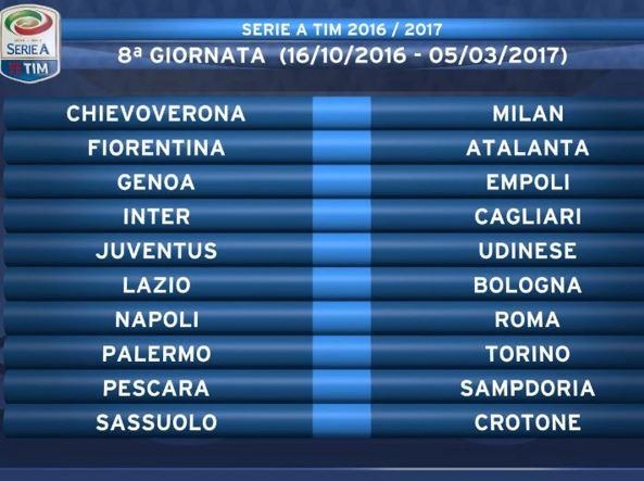 Calendario Serie A Ottava Giornata.Serie A Il Calendario 2016 2017 Subito Fiorentina Juventus
