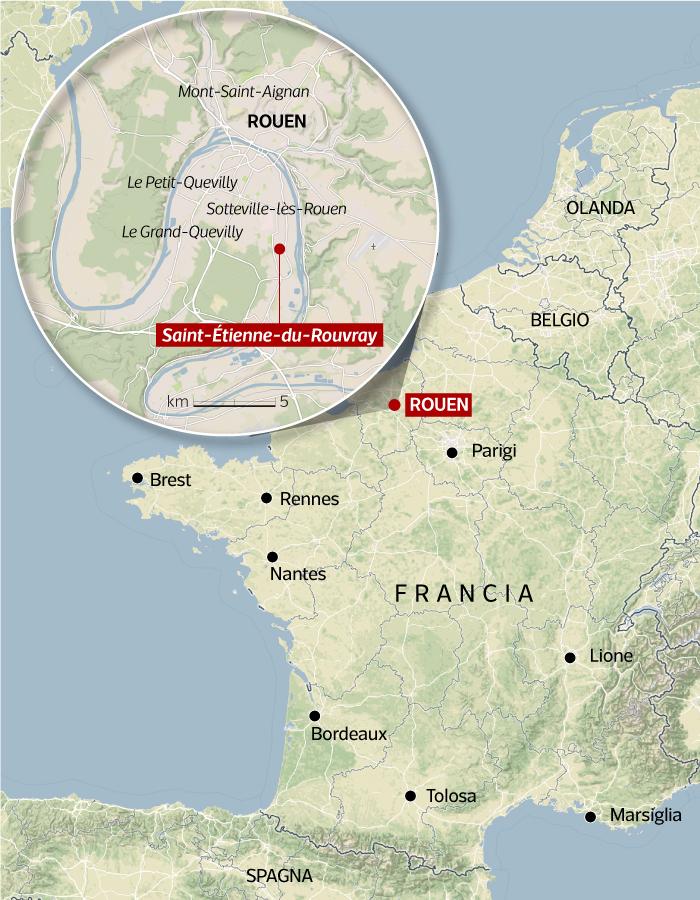 Nantes Cartina Francia.Francia Assalto A Chiesa Di Saint Etienne Du Rouvray Mappa