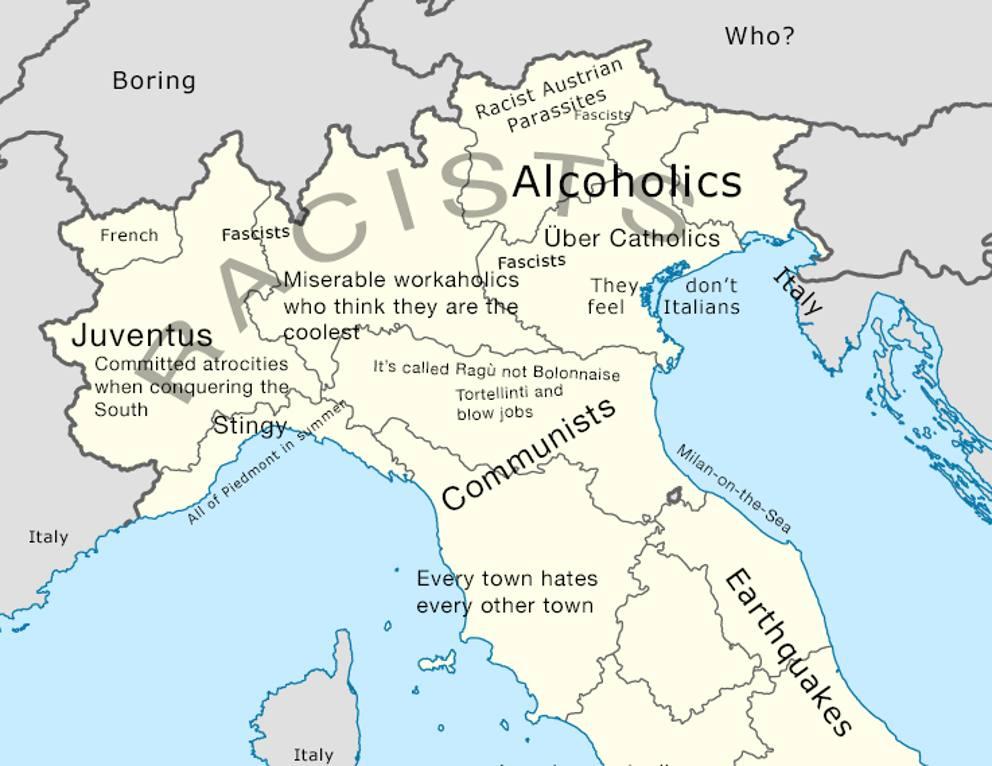 L italia la mappa degli stereotipi offensivi e volgari - Regioni italiane non bagnate dal mare ...