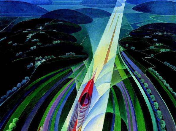 Gerardo Dottori, «Trittico della velocità, La corsa» (1925), dettaglio