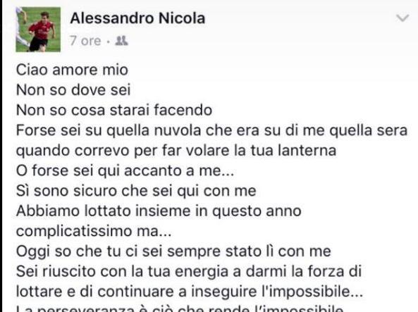 Crotone La Lettera Di Davide Nicola Al Figlio Alessandro Scomparso