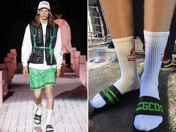 dal costo ragionevole cercare ultime tendenze del 2019 Ciabatte con calzettoni (e maxi logo): lo streetwear che ...
