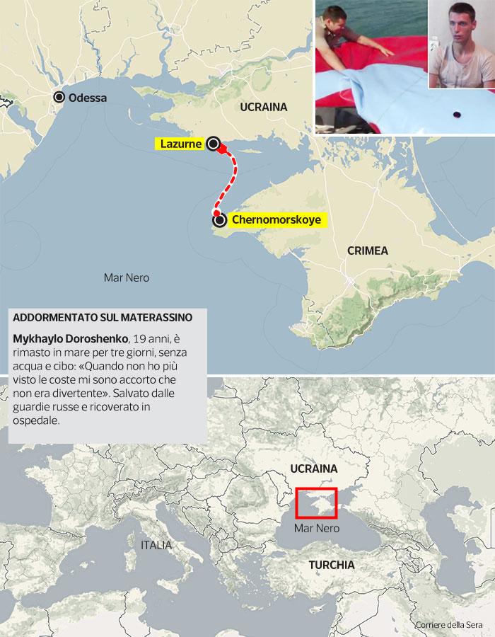 Cartina Europa Crimea.Distanza Ucraina Crimea Il Viaggio Sul Materassino Di