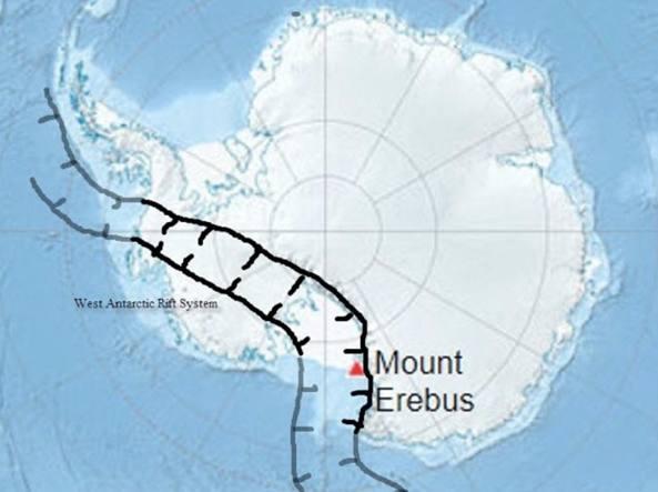L'estensione del West Antarctic Rift System con il monte Erebus, il vulcano più noto del Polo Sud