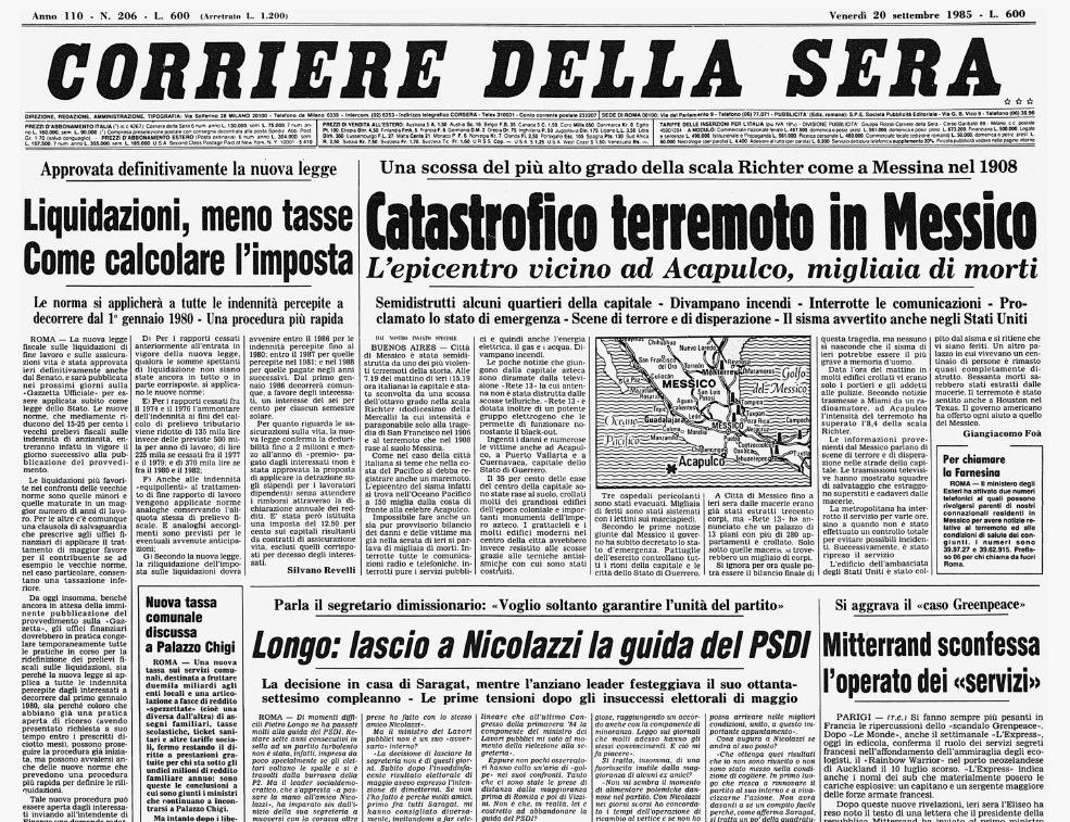 Terremoto in messico nel 1985 la prima pagina del corriere della sera - Corriere della sera cucina ...