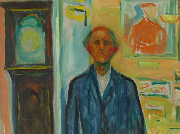 Edvard Munch (1863–1944), «Self-portrait: between the clock and the bed» (1940–43, olio su tela)