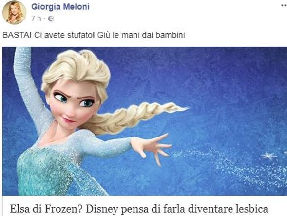 Elsa Di Frozen Lesbica Salvini Vogliono Il Mondo Allincontrario