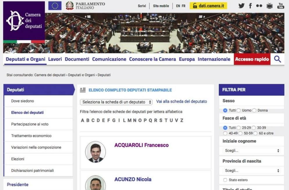 Elezioni del presidente di camera e senato il giorno del for Elenco dei deputati