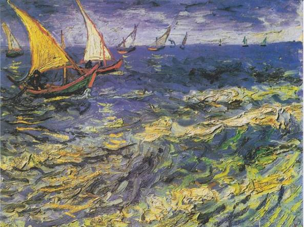Vincent van Gogh, Seascape at Saintes-Maries (Fishing Boats at Sea) 1888, Pushkin Museum, Mosca