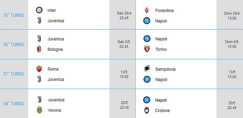 Juve Calendario Partite.Juve Napoli Calendario Delle Prossime Partite Di Serie A