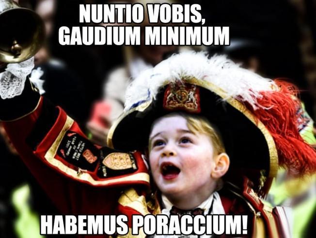«Habemus poraccium», Baby George festeggia la nascita del fratellino
