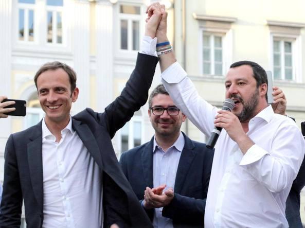 Il leghista Massimiliano Fedriga (con Salvini nella foto Ansa, nel comizio di chiusura a Trieste)