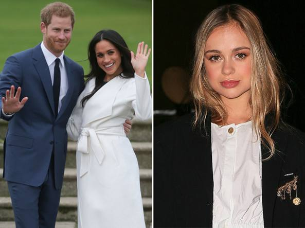 Harry e Meghan Markle (a sinistra) e Amelia Windsor