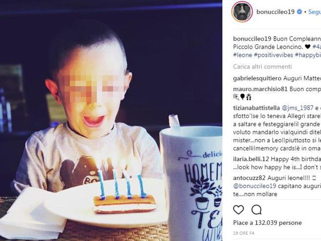 Bonucci posta una foto per il compleanno del figlio Matteo. Gli insulti social e la sua replica