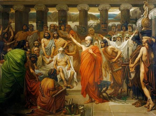 Il discorso di Socrate, un'opera del pittore belga Louis J. Lebrun (1844-1900). Il processo al filosofo si svolse ad Atene nel 399 avanti Cristo e si concluse con la condanna a morte dell'imputato. L'intervento di autodifesa del filosofo è stato tramandato dal suo allievo Platone nella famosa opera Apologia di Socrate
