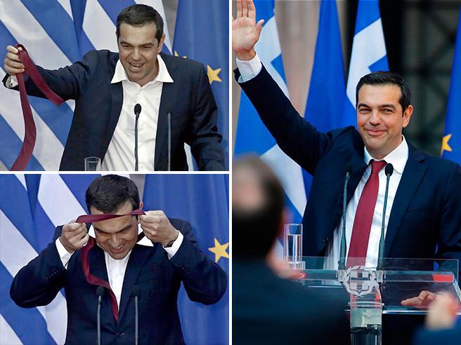 Fine della crisi, come promesso Tsipras rimette la cravatta  Video