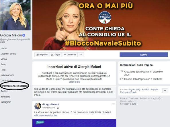 La sezione Informazioni e inserizioni della pagina ufficiale di Giorgia Meloni