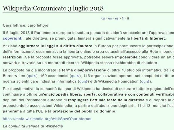 Wikipedia oscurata perch il blocco solo in italia e for Il parlamento italiano wikipedia
