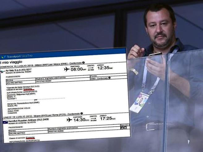 Pd contro Salvini per il volo di Stato a Mosca Ma è andato in economy