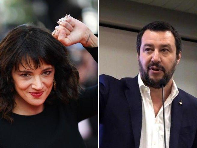 Asia Argento contro Salvini: «M...», E lui: «Ti offro una camomilla»