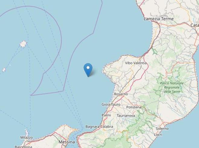 Terremoti: scossa magnitudo 3.7 al largo della costa ovest della Calabria