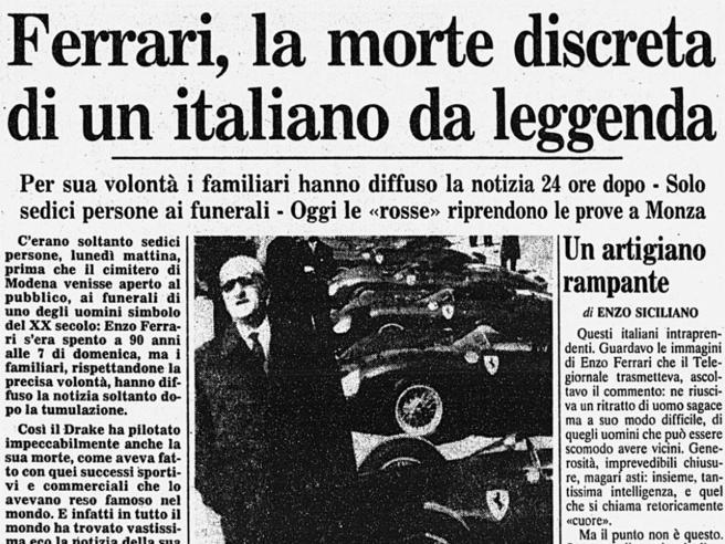14 agosto 1988, muore Enzo Ferrari, fondatore dell'omonima e celebre casa automobilistica