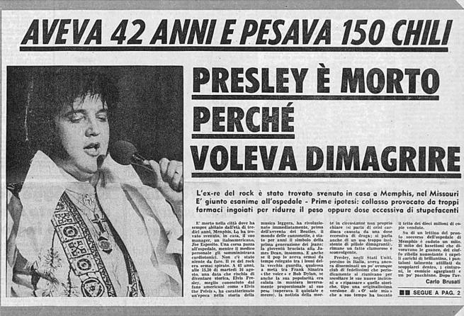 16 agosto 1977, muore Elvis Aaron Presley «The King Of Rock 'n' Roll»